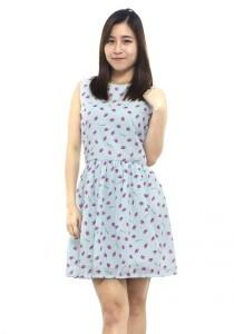 LadiesRoom Kiss Print Flare Dress (Sky Blue)