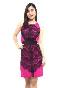LadiesRoom Cut In Lace Chiffon Sheath Dress (Pink)