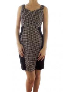 LadiesRoom Brown Houndstooth Print Fitted Dress (Brown)