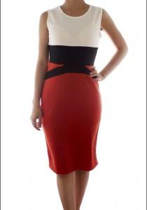 LadiesRoom Sleeveless Elegant Fitted Dress (Orange)