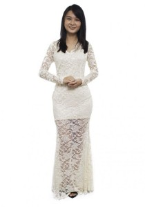 LadiesRoom Full Lace Long Sleeve V-Neckline Mermaid Dinner Dress (Cream) S/M