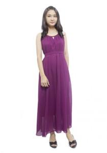 LadiesRoom Halter Gold Metal Chiffon Dinner Dress LRD2501PPL (Purple)