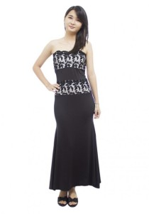 LadiesRoom Strapless Embroidery Fitted Evening Dress (Black)