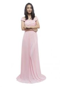 LadiesRoom Off Shoulder Dinner Dress (Pink) S/M