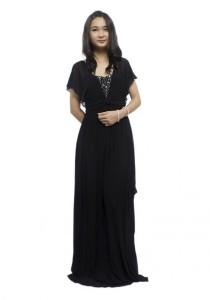 LadiesRoom Elegant Sleeve Black Dinner Dress (Black)