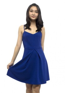 LadiesRoom Double Strap Flare Dress (Blue)