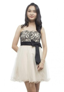 LadiesRoom Black Lace Strapless Dress (Beige) S/M