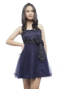 LadiesRoom Black Lace Strapless Dress (Navy Blue) S/M