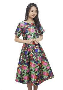 LadiesRoom Short Sleeve Floral Printed A-Line Midi Dress (Multicolor)