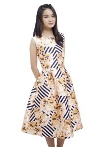 LadiesRoom Flower Print A-Line Dress (Multicolors) S