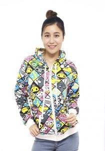 LadiesRoom Printed Jacket with Hoodie LRJ2519E (Multicolor) S/M