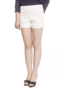 Stretchable White Lace Short