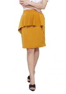 LadiesRoom OL Peplum Skirt (Mustard) S/M