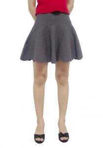 LadiesRoom Scallop Hem Mini Skirt (Grey)