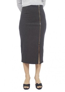 LadiesRoom High Waist Front Slit Fitted Skirt LRS2702-GRY (Grey) S/M