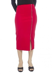 LadiesRoom High Waist Front Slit Fitted Skirt LRS2702-RED (Red) S/M