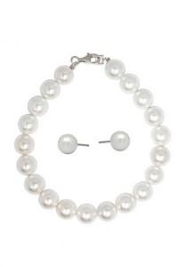 Lydia Shell Pearl Bracelet & Earrings Gift Set Crafted by Angie