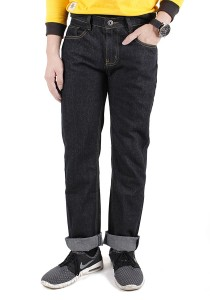 Black Elegant Regular Cutting Jeans