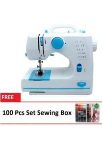 Maidronic Sewing Machine HL-508B 10 Sewing options (Light Blue) + 100 PCS Sewing Kit