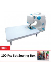 Maidronic Sewing Machine HL-508B 10 Sewing options With Expansion Board (Light Blue) + 100 PCS Sewing Kit