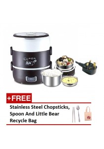 (MALAYSIA Power Plug) 3 Layer Multifunctional Electric Stainless Steel Lunch Box + + gift