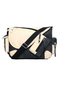 Momorain Korea Vintage Canvas Fashion Messenger Bag (Black)