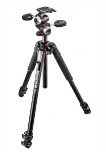 Manfrotto MK055XPRO3-3W 055 Kit Aluminium 3 Section Horizontal Column Tripod with 3-Way Head