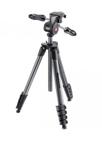 Manfrotto MKCOMPACTADV-BK Compact Advance Tripod Black with Foldable 3-Way Head  Padded Bag