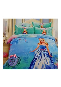 Cartoon Theme 4 Pcs Cotton Bedding Set (4 Pcs C GIRL)