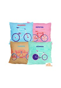 Maylee 4 Pcs Multicolour Pillow Cases (Outdoor Bicycle)