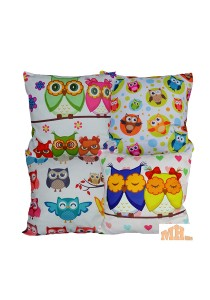Maylee 4 Pcs Multicolour Happy Owl Family Pillow Cases