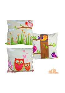 Maylee 3 Pcs Multicolour Lovely Owl Pillow Cases