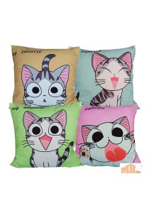 Maylee 4 Pcs Multicolour My Sweetie Cat Pillow Cases