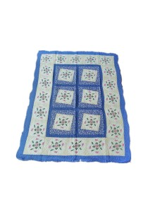 Maylee Patchwork Cotton Carpet (Ct Lovely Flower-Blue)
