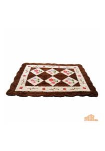 Maylee Brown Flower Hand Made High Quality Patchwork Velvet Carpet (Ct V Flower B)