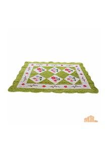 Maylee Green Flower Hand Made High Quality Patchwork Velvet Carpet (Ct V Flower G)