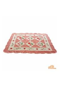 Maylee Pink Flower Hand Made High Quality Patchwork Velvet Carpet (Ct V Flower P)