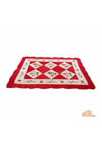 Maylee Red Flower Hand Made High Quality Patchwork Velvet Carpet (Ct V Flower R)