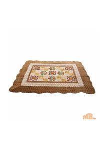 Maylee Brown Flower Patchwork Velvet Carpet (Ct V Flower Patch B)