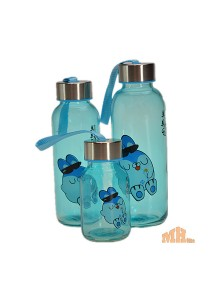 Maylee High Quality Glass Bottle Rabbit Design 320ml (Blue)