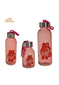 Maylee High Quality Glass Bottle Rabbit Design 320ml (Red)