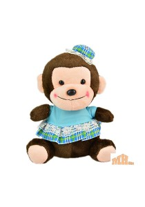 Maylee Cute Plush Monkey with Skirt 18cm (Blue)