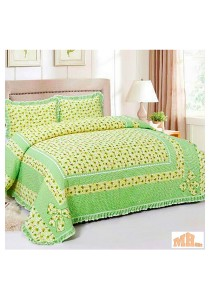 Maylee XY1612 High Quality Cadar Patchwork Queen Set of 3 Green SunFlower With Lace Border