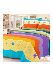 Maylee SJ028 Hand Made Multicolour Patchwork Cotton King Bedspread Set of 3