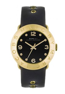 Marc by Marc Jacobs Women's Amy Gold-Tone Stainless Steel Watch with Black Leather Band MBM1154