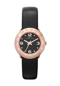 Marc by Marc Jacobs Amy Black Dial Black Leather Band Rose Gold-tone Ladies Quartz Watch