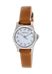 Marc By Marc Jacobs Women's Henry Dinky Brown Leather Swiss Quartz Watch with White Dial MBM1280
