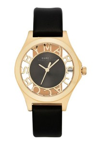 Marc by Marc Jacobs Women's Skeleton Gold-Tone Stainless Steel Watch with Black Leather Band MBM1340