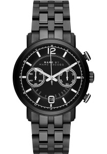 Marc by Marc Jacobs Men's Chronograph Fergus Black Ion-Plated Stainless Steel Bracelet Watch MBM5065