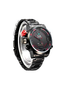Sophisticated Men Stainless Steel LED Sports Watch Design B (Black Body / Red Details)